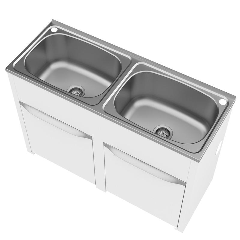 Double Laundry Sink With Cabinet : Eureka Double 45 Litre Laundry Tub & Cabinet - Design Content