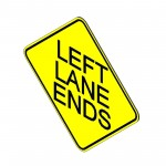 Download CAD files for Left Lane Ends Sign