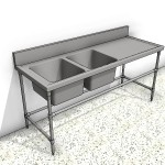Download CAD files for Stainless Steel Bench with 2 Service Sinks and Splashback